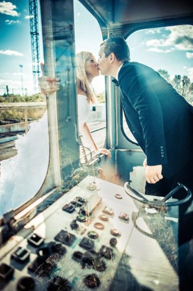 sesja ślubna na torach